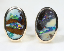 Boulder Opal Gold Earring Studs Code -GE16