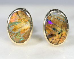 Boulder Opal 18k Gold Earring Studs Code -GE19