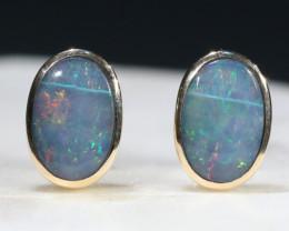 Natural Australian Boulder Opal Gold Earring Studs Code -GE15