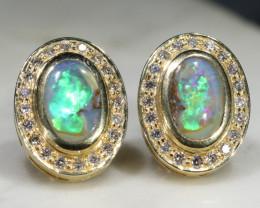 Boulder Opal and Diamond 18k Gold Earrings Code -GE14