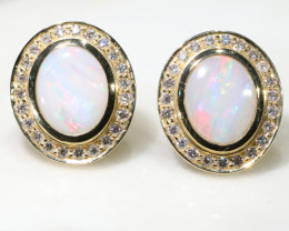 Australian White Opal and Diamond 18k Gold Earrings Code -GE13