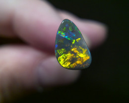 1.45ct Lighting Ridge Solid Gem Black Opal Muitiple Gem colors