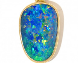 14K GOLD OPAL DOUBLET LIGHTNING RIDGE  PENDANT WITH DIAMOND [CP122]