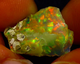4.18Ct Multi Color Play Ethiopian Welo Opal Rough J1402/R2