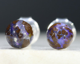 Australian Boulder Opal Matrix Silver Earring Studs Code-SE237
