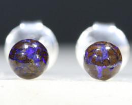 Australian Boulder Opal Matrix Silver Earring Studs Code-SE239