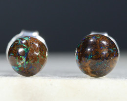 Australian Boulder Opal Matrix Silver Earring Studs Code-SE235