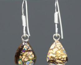 Australian Boulder Opal Matrix Silver Earrings Code -ERJ1