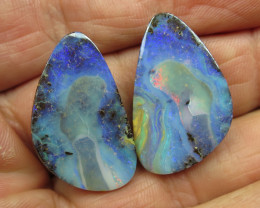 61cts, BOULDER OPAL~LOVELY QUALITY PAIR.