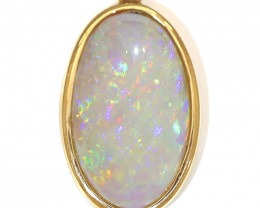 14K GOLD COOBER PEDY OPAL  PENDANT WITH DIAMOND [CP135]