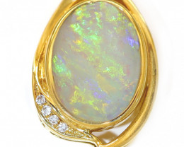 18K GOLD COOBER PEDY OPAL  PENDANT WITH DIAMOND [CP134]