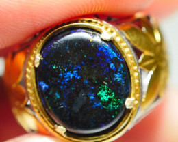 31.55CRT FOSSIL WOOD RING SILVER INDONESIA OPAL