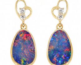 14K GOLD DOUBLET OPAL LIGHTNING RIDGE PIERCE EARRINGS WITH DIAMONDS [CE22]