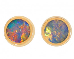 14K GOLD DOUBLET OPAL LIGHTNING RIDGE PIERCE EARRINGS [CE23]