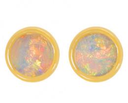 18K GOLD COOBER PEDY OPAL PIERCE EARRINGS [CE24]