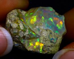 25.98Ct Multi Color Play Ethiopian Welo Opal Rough JR12/R3