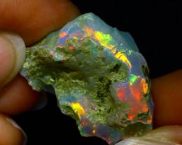 29.33Ct Multi Color Play Ethiopian Welo Opal Rough JR17/R3
