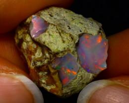 25.80Ct Multi Color Play Ethiopian Welo Opal Rough JR21/R3