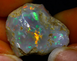 26.48Ct Multi Color Play Ethiopian Welo Opal Rough JR22/R3