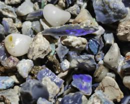 6oz Beginners Black Opal Rough lot, potch & color, lapidary, practice cutti