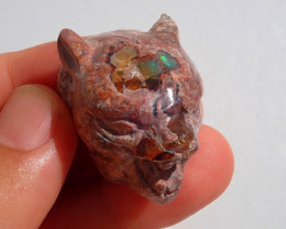 Jaguar Head Mexican Cantera Fire Opal Stone Carved Figurine