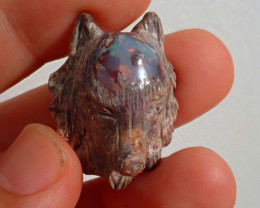Wolf Head Mexican Cantera Fire Opal Stone Carved Figurine