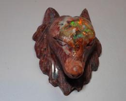 Wolf Head Mexican Cantera Fire Opal Figurine