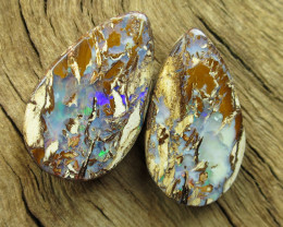 36cts, WOOD OPAL~FOSSIL PAIR.