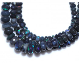 60.00 CTS BLACK CRYSTAL OPAL STRAND-FACETED -WITH CLIP [SOJ8064]