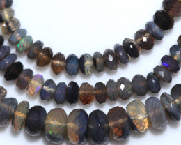 66.00 CTS BLACK CRYSTAL OPAL STRAND-FACETED -WITH CLIP [SOJ8066]