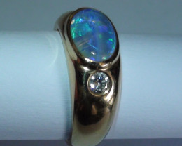 45.45  ct 18k Blue Green Doublet Opal Diamond Ring