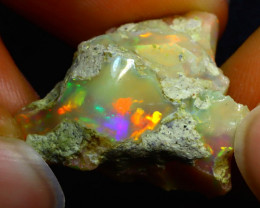 21.82Ct Multi Color Play Ethiopian Welo Opal Rough JR44/R3