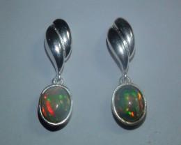 19.0 ct  Ethiopian Welo Solid Crystal Silver Opal Earrings