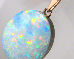 Australian Genuine Opal Pendant 14k Rose Gold Doublet 9.4ct