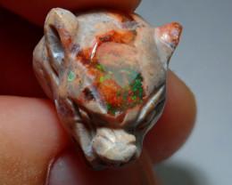 Jaguar Head Mexican Matrix Cantera Figurine Opal
