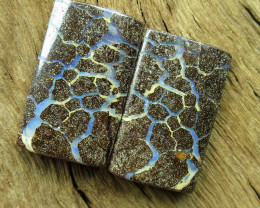 29cts, BOULDER OPAL~PATTERN PAIR.