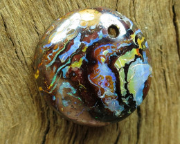 14.25.CTS DRILLED-PICTURE PATTERN-BOULDER MATRIX OPAL-,CO