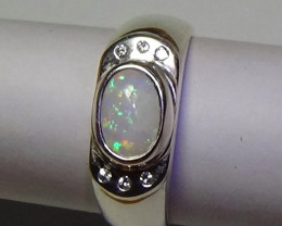 OPAL SIZE 7 MENS COOBER PEDY SILVER RING WIT CUBIC ZIRCONIAS  *