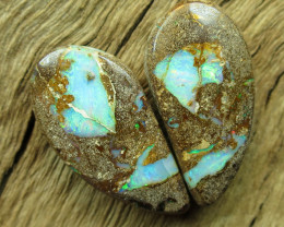 33cts, BOULDER PIPE OPAL~PATTERN PAIR.