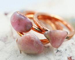 Three Pink Peru Opal Copper Rings size 9 GTJA 1160