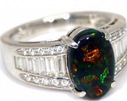 45.7 CTS SOLID BLACK OPAL PT-900 AND  DIAMOND RING INV-821  GC
