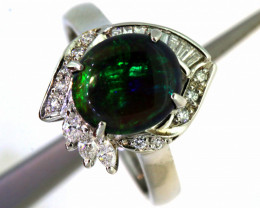 39.80 CTS BLACK OPAL PLATINUM RING   OF- A135/2  LAZ