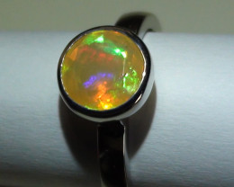 Opal Ring Size 6.5 White Gold  18K Gem facet  *