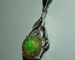 Opal Womens 14K White Gold Solid Crystal Opal Pendant With Diamond