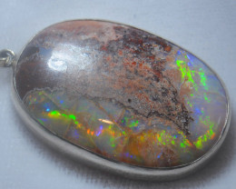 60ct .925 Sterling Mexican Taxco Silver Pendant Opal