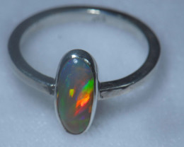 7sz .925 Sterling Ethiopian Welo Silver Ring Opal