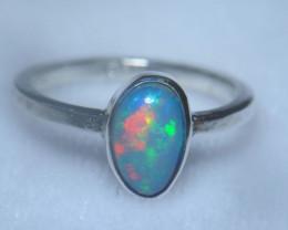 6.5sz .925 Sterling Ethiopian Welo Silver Ring Opal
