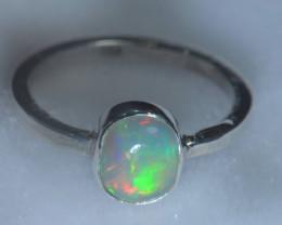8sz .925 Sterling Ethiopian Welo Silver Ring Opal