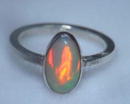 6.2sz .925 Sterling Ethiopian Welo Silver Ring Opal