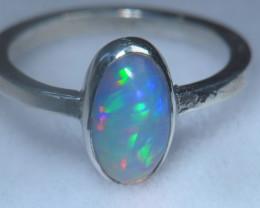 6.7sz .925 Sterling Ethiopian Welo Silver Ring Opal